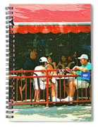 The Red Awning Cafe On St. Denis - A Shady Spot To Enjoy A Cold Beer On A Very Hot Sunday In July Spiral Notebook
