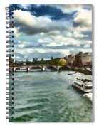 The River Seine Paris France Digital Water Color Spiral Notebook