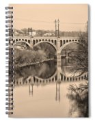 The Schuylkill River And Manayunk Bridge In Sepia Spiral Notebook