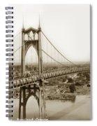 The St. Johns Bridge Is A Steel Suspension Bridge That Spans The Willamette River Spiral Notebook