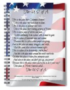 The U.s.a. Flag Poetry Art Poster Spiral Notebook