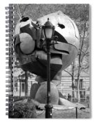 The W T C Plaza Fountain Sphere In Black And White Spiral Notebook