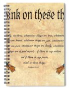 Think On These Things Fraktur Spiral Notebook