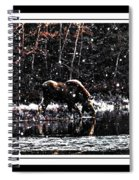 Thirsty Moose Impressionistic Painting With Borders Spiral Notebook