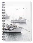 Three Boats Moored In Soft Morning Fog  Spiral Notebook