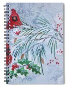 Three Cardinals In The Snow With Holly Spiral Notebook