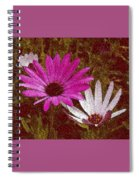 Three Flowers On Maroon Spiral Notebook