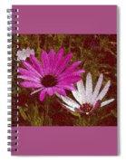 Three Flowers On Maroon Spiral Notebook