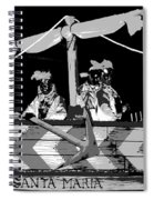 Three Maskers In  Black And White Spiral Notebook