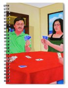 Three Men And A Lady Playing Cards Spiral Notebook