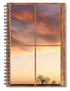 Three Trees Sunrise Barn Wood Picture Window Frame View Spiral Notebook