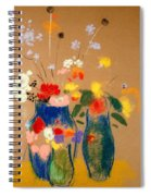 Three Vases Of Flowers Spiral Notebook