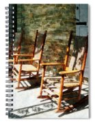 Three Wooden Rocking Chairs On Sunny Porch Spiral Notebook