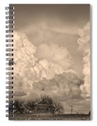 Thunderstorm Clouds And The Little House On The Prairie Sepia Spiral Notebook