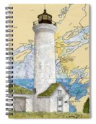 Tibbetts Pt Lighthouse Ny Lake Ontario Nautical Chart Map Art Spiral Notebook