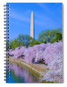 Tidal Basin And Washington Monument With Cherry Blossoms Vertical Spiral Notebook