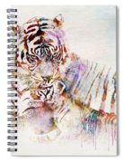 Tiger With Cub Watercolor Spiral Notebook