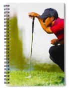 Tiger Woods Lines Up A Putt On The 18th Green Spiral Notebook