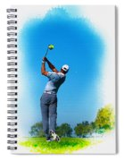 Tiger Woods Plays His Tee Shot On The 15th Hole Spiral Notebook