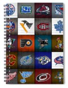 Time To Lace Up The Skates Recycled Vintage Hockey League Team Logos License Plate Art Spiral Notebook