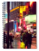 Times Square - Man Walking With Yellow Bag Spiral Notebook
