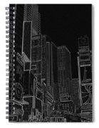 Times Square Nyc White On Black Spiral Notebook