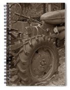 Tired Tractor...... Sepia Spiral Notebook