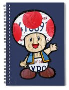 Toad From Mario Brothers Nintendo Original Vintage Recycled License Plate Art Portrait Spiral Notebook
