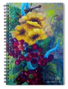 Too Delicate For Words - Yellow Flowers And Red Grapes Spiral Notebook