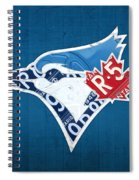 Toronto Blue Jays Baseball Team Vintage Logo Recycled Ontario License Plate Art Spiral Notebook