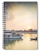 Tourist Boat On Sunset Cruise In Phnom Penh Cambodia River Spiral Notebook
