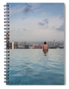 Tourists At Infinity Pool Of Marina Bay Spiral Notebook