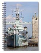 Tower Bridge And Battleship 5863 Spiral Notebook