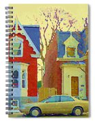 Town Houses In Winter Suburban Side Street South West Montreal City Scene Pointe St Charles Cspandau Spiral Notebook