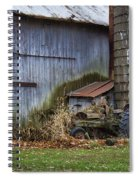 Tractor And Barn On Cloudy Day Spiral Notebook