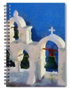 Traditional Belfry In Oia Town Spiral Notebook