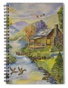 Tranquil Log Cabin Spiral Notebook