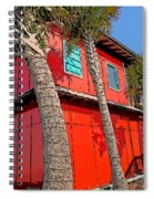 Tropical Orange House Palm Trees - Whoa Now Spiral Notebook