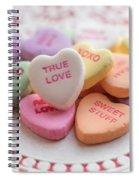 True Love Valentine Candy Hearts Spiral Notebook