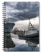 Tugboat Pulling A Cargo Ship Spiral Notebook