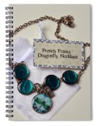 Turquoise French Francs Dragonfly Necklace Spiral Notebook