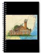Turtle Rock Lighthouse Pa Chart Map Art  Spiral Notebook
