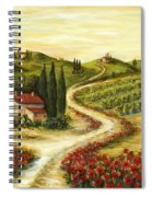 Tuscan Road With Poppies Spiral Notebook
