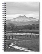 Twin Peaks Mt Meeker And Longs Peak Bw Country Spiral Notebook
