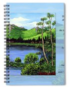 Twin Ponds And 23 Psalm On Blue Horizontal Spiral Notebook