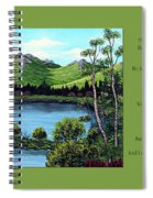 Twin Ponds And 23 Psalm On Green Horizontal Spiral Notebook