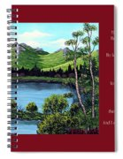 Twin Ponds And 23 Psalm On Red Horizontal  Spiral Notebook