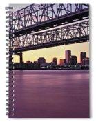 Twins Bridge Over A River, Crescent Spiral Notebook