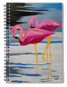 Two Flamingo's In Acrylic Spiral Notebook