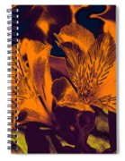 Two Lilies Gradient Ink Outline Spiral Notebook